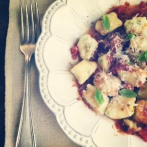 plated gnocchi in tomato sauce
