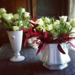 holiday spray rose centerpiece