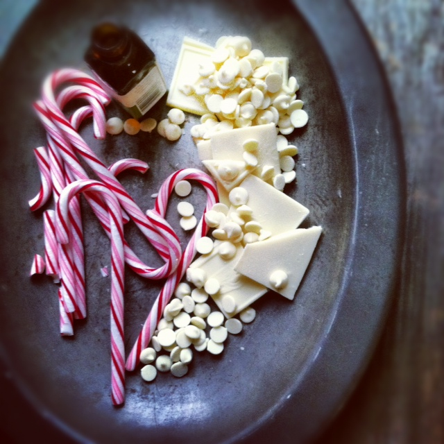 candy cane with white chocolate