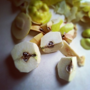 cut and peeled quince
