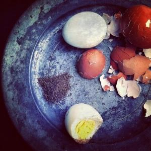 hard boiled eggs with salt