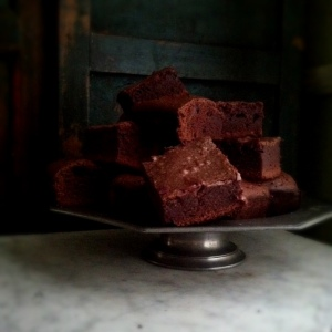 brownies on pewter pedestal