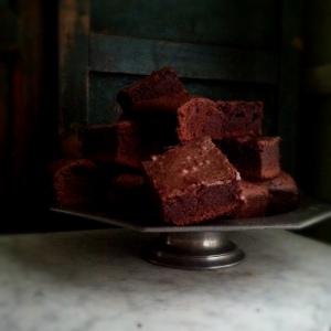 brownies on pewter pedestal